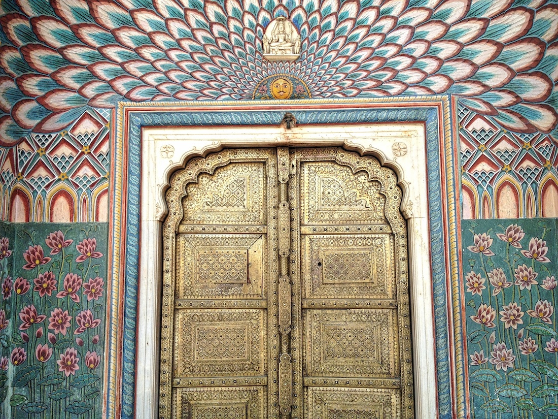 close up of peacock doors in city palace jaipur