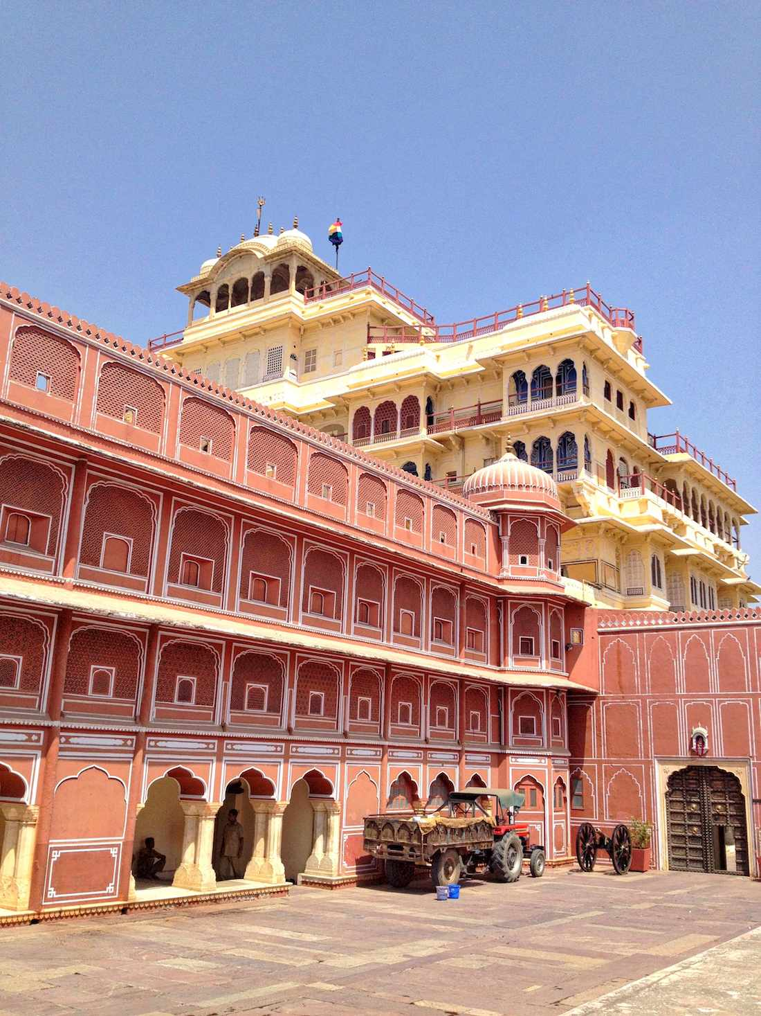 city palace with truck